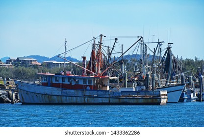 Commercial marina with working shrimp boats and fishing trawlers securely berthed in a well protected harbour on the Australian East Coast with blue sky backdrop. Coffs Harbour, NSW, Australia