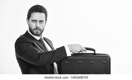 Commercial offer. Businessman demonstrate briefcase. Business conference. Business attributes. Justification for proposed project or expected commercial benefit. Man hold briefcase. Business profit.