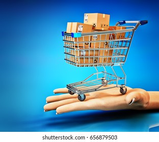 Commercial offer and purchase concept, shopping cart full of cardboard boxes on human hand palm on blue background, 3d illustration