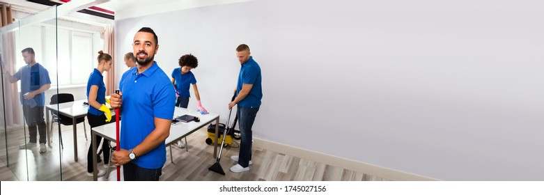 Commercial Office Cleaning Service. Janitor Or Professional Cleaner