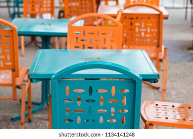 Commercial Outdoor Colorful Dining Furniture. Restaurant Metal Patio Side Tables and Chairs.