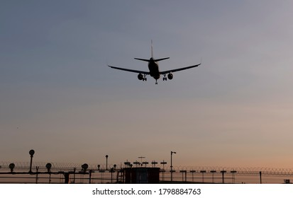 Commercial passenger airplane landing in Moscow, Russia