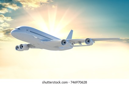 Commercial passenger airplane on beautiful colorful sunset background. 3d illustration