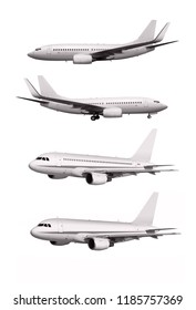 commercial planes isolated on white background