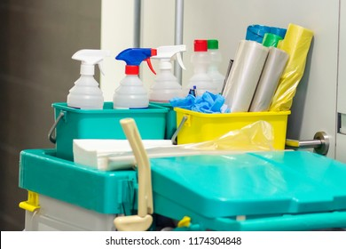 Commercial Professional cleaning kit on cart. Cleaning and washing tools. Equipment  of cleaning services company