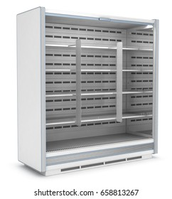 Commercial refrigerator with advertising stoppers. 3d image isolated on white.