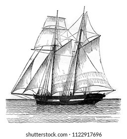 Commercial sailboat sailing, view from the port hip, vintage engraved illustration. Magasin Pittoresque 1841.
