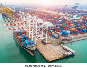 commercial ship vessel operation in port for transhipment the containers shipment, the logistics transport services to worldwide international