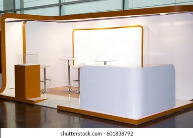 A commercial stand in an exhibition hall or a large professional salon ready to receive brands and advertisements