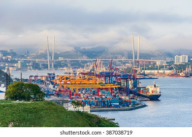 Commercial trade port in Vladivostok, Russia
