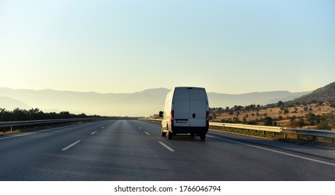 commercial van is delivering cargo to countryside