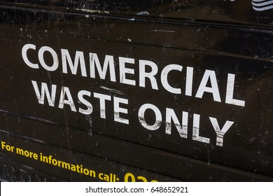 Commercial waste bin close-up