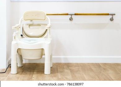 Commode Chairs and Portable Toilets for Elderly, Side view with copy space and text.