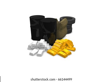 Commodities concept:Oil, wheat, rubber, gold, silver. isolated on white background.