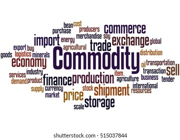 Commodity, word cloud concept on white background.