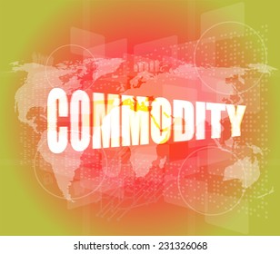 commodity word on business digital touch screen