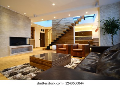 Commodius living room in duplex apartment interior