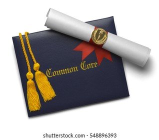 Common Core Diploma of Graduation Cover with Degree Scroll and Torch Medal with Honor Cords Isolated on White Background.