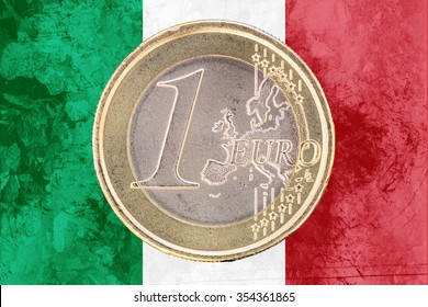 Common face of one euro coin from Italy isolated on the national italian flag as background
