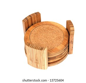 Common household coasters made of bamboo.