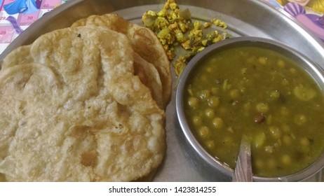 Common Indian breakfast- Puri and Sabji.