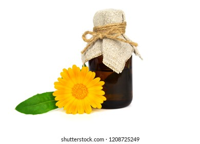 Common Marigold Flower (Calendula Officinalis) Tincture Extract or Essential Oil. Isolated on White Background. Also Ruddles, Pot or Common or Scotch Marigold.