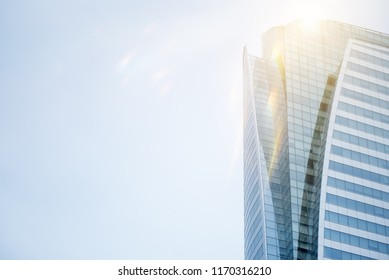 Common modern business skyscrapers, high-rise buildings, architecture raising to the sky, sun. Concepts of financial, economics, future etc,Business concept of success industry tech architecture