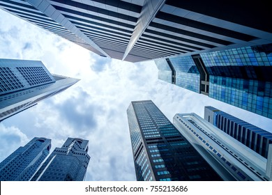 Common modern business skyscrapers, high-rise buildings, architecture raising to the sky - Concepts of financial, economics, future, money, crisis, etc