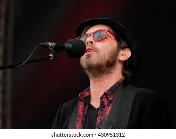 "Common People - May 28 2016: Former Supergrass singer Gareth Michael ""Gaz"" Coombes performing live on the main stage at Common People Southampton Festival, Southampton, May 28, 2016 in Hampshire, UK"