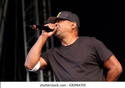 Common People - May 29 2016: American Hip Hop artist Chuck D with Public Enemy performing live on the main stage at Common People Southampton Festival, Southampton, May 29, 2016 in Hampshire, UK