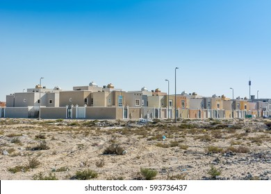 A common residential area built above on the desert near the corniche park in the Dammam, Saudi Arabia