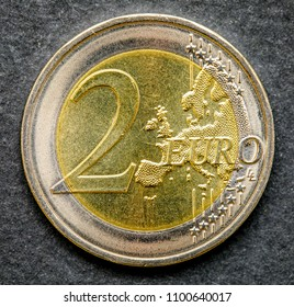 Common side of two euros coin