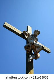 Common thief crucifixion statue in Le Jardin de Calvaire, Carcassonne