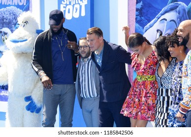 Common, Zendaya, LeBron James, Channing Tatum, Ely Henry and Yara Shahidi at the Los Angeles premiere of 'Smallfoot' held at the Regency Village Theatre in Westwood, USA on September 22, 2018.