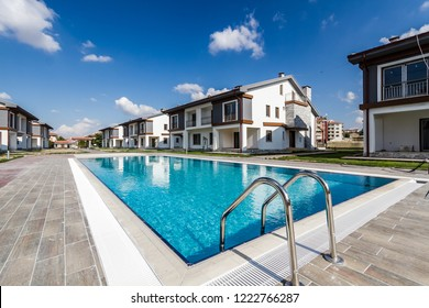 Communal swimming pool for residents of a newly built apartments site