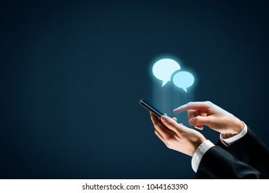 Communicate (chat) on smartphone concept. Mobile phone user and speech bubbles icons.
