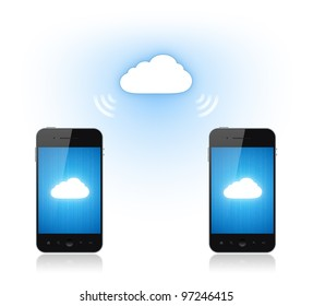 Communication between two modern mobile smart phone via cloud-computing connection. Conceptual illustration. Isolated on white.