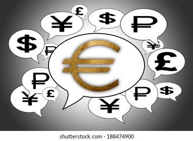 Communication and business concept - Speech cloud, golden euro sign