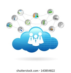 communication cloud illustration design over a white background