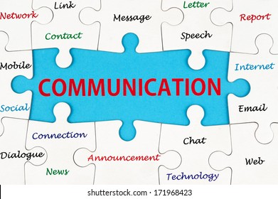 Communication concept words on group of jigsaw puzzle