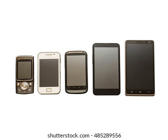 Communication evolution, Technology evolution: collection of different kind of mobile devices isolated on white background, evolution of mobile phones, old and new phone