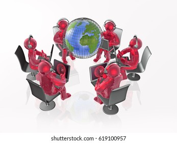 Communication - globe, red mans and notebooks on white background, 3D illustration.