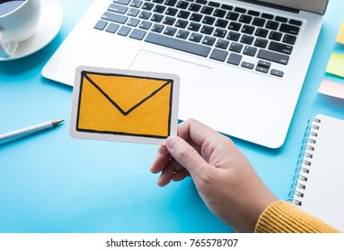 Communication message concepts with symbol icon on femail hand.business technology