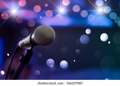 communication microphone on stage against a background of auditorium Concert stage
