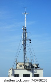 communication and navigation antennas at the entrance of the port of Nieuwpoort, Flanders,Belgium