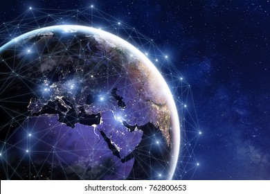 Communication network around Earth used for worldwide international connections for finance, banking, internet, IoT and cryptocurrencies, fintech concept, composition with planet image from NASA