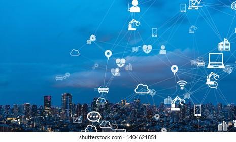 Communication network concept. Low power wide area. Smart city.