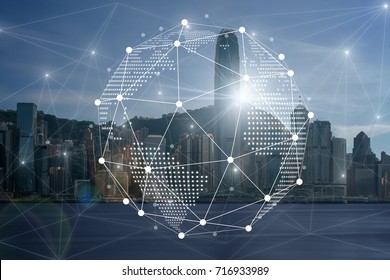 Communication network with digital virtual screen of Hong Kong Cityscape river side in the afternoon with smooth cloud at harbour, Technology Smart City with Internet of Things concept