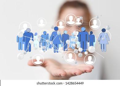 communication network  digital workforce 3d
