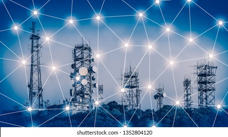 Communication network Tower with antennas such a Mobile phone tower, Cellphone Tower, Phone Pole etc on the clear blue sky background.